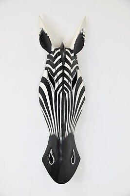 wooden ZEBRA mask 60cm - animal wall art - Fair Trade - Hand Carved