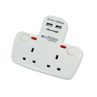 CT4159 BS 2 Way Plug Socket Adaptor With 2 Switch & 2 USB Charger Ports