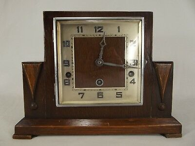ANTIQUE MANTEL CLOCK Germany Art Deco URGOS F. H. S. Hermle OAK wood WESTMINSTER