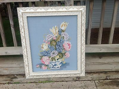 Hand Embroidered Shabby Chic Floral Antique Framed Picture Blues & White 30 X 26