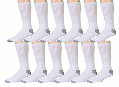 3 6 12 Pairs Mens White Sports Work Athletic Crew Socks Cotton Size 10-13 / 9-11