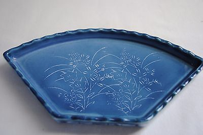 Handmade Chinese Flower Blue Painting Fan Shape Decorative Plate With Signature