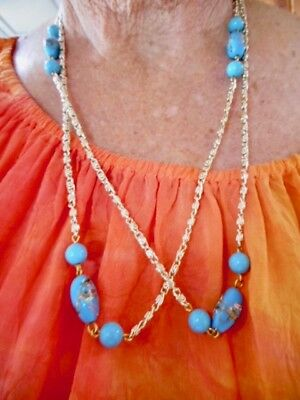 Authentic Vintage 1950's Baby Blue Art Glass & Light Gold Tone Necklace 48""