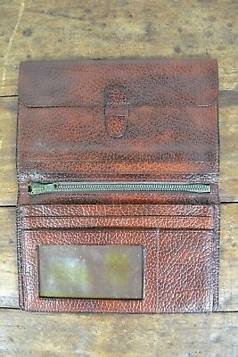 VINTAGE 1970s ENGLISH MADE BIFOLD BROWN LEATHER WALLET UK MADE