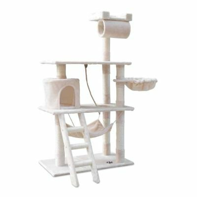 Cat Scratching Post Tree Scratcher Pole Furniture Gym House Toy 141cm Beige @TOP