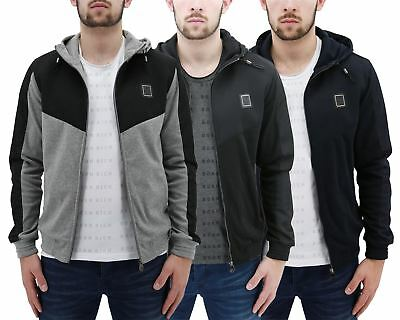 Mens Hoodie Born Rich By Money Clothing Smithsonite Zip Up Hooded Panel Sweater