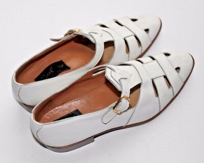 Vintage White Leather Unisex Ravel Sandals Made in Italy size 44