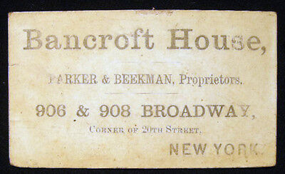 1863 Business Advertising Card For Bancroft House Broadway 20Th Street New York