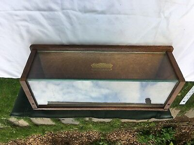 Vintage antique  oak and glass counter top advertising showcase Sealpackercheif