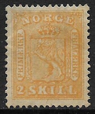 NORWAY 1863 Arms 2sk Yellow SG 12 MH/* (Cat £750)
