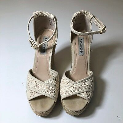 8fa2020bb9d STEVE MADDEN 'MARRVIL' Cream Crochet Buckle Peep Toe Platform Wedge 8M Heels
