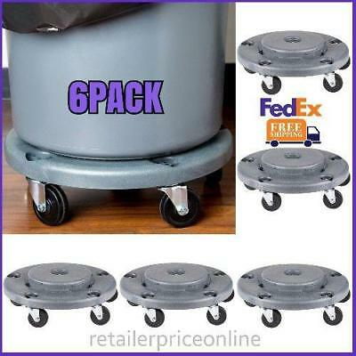 6 PACK Lavex Janitorial Gray Trash Can Dolly Us FedEx Shipping
