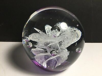 Murano Style Purple & White Fanned Billows Design Art Glass Paperweight