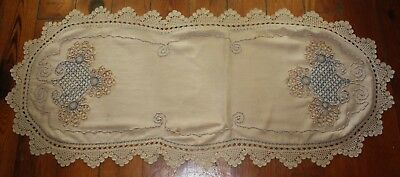 Antique 1920's ~ Coronation Cord ~ Crocheted Table Centerpiece Linen Large 51""