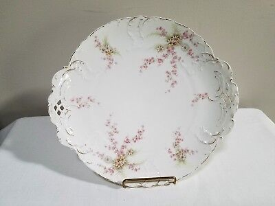 Antique Vintage Rosenthal & Co Sevres Platter Tray Pink/White Flowers Gold Trim