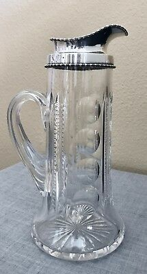 Magnificent Vintage Goodnow & Jenks Sterling Silver & Cut Glass  Pitcher