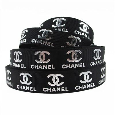 Grosgrain Ribbon Chanel Black + Silver Writing 22mm (1m, 2m or 5m + Bundle)