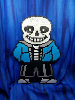 Sans Skeleton Undertale Battle Sprite IN COLOR Perler Bead wall art video game