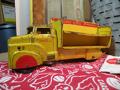 Vintage 1950s Marx Coca Cola/Coke Delivery Truck - Large Pressed Steel Toy 12.5""