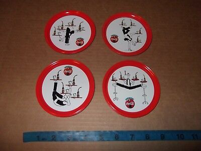 """4 Coca Cola Coke Drink Coasters Made In Italy Acrobat / Contortionist 4 1/8"""""""