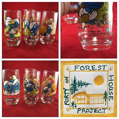 4 of The Smurfs Promotional Vintage Collectible Drinking Glasses 2 Harmony Smurf