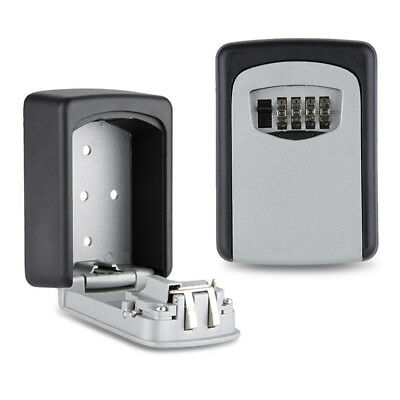 Wall Mount Key Lock Box 4-Digit Combination Weather Resistant Alloy In/Outdoor