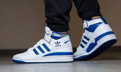 newest 26784 a882f Adidas Mens (Size 10) Forum Mid Refined White, Blue, Silver Originals F37830