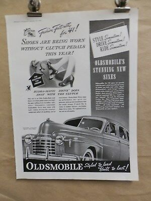 Vintage 1941 Oldsmobile Advertising Print Ad. First Clutch Year. Cars Auto's