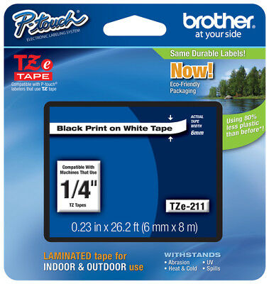"Brother P-touch ~1/4"" (0.23"") Black on White .TZe-211"