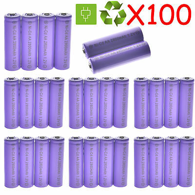 Lot 100X AA Rechargeable Batteries NiCd 2800mAh 1.2v Garden Solar Light LED US