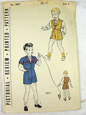 Antique 1920s Sewing Pattern Boys SUIT JACKET SHIRT SHORTS Jumper Romper Sz 5