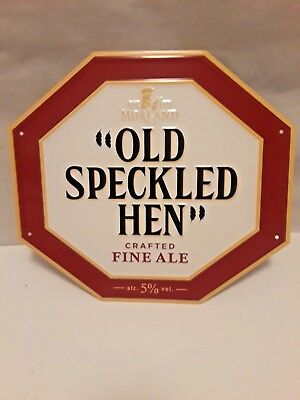 Old Speckled Hen Morland Brewery England Embossed Tin Tacker Beer Sign....B/New