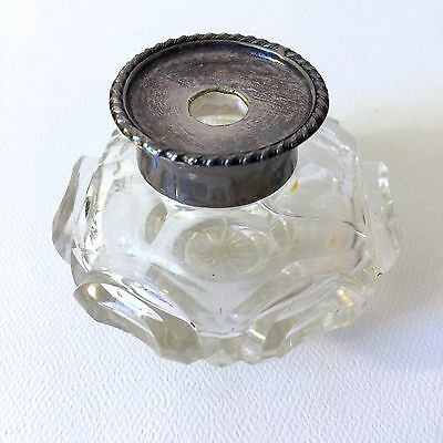 Antique Victorian Inkwell 1800's Cut Crystal Glass Silver Top Beautiful Unique