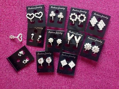 JOB LOT-10 pairs CLIP ON crystal diamante earrings.Silver plated.UK handmade.
