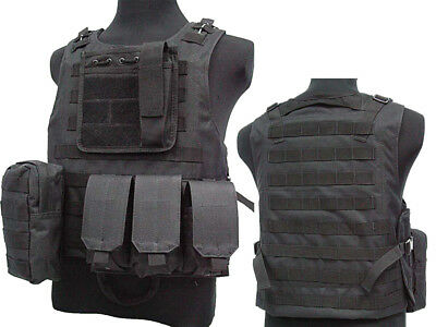 Tactical Assault Molle Combat Vest Magazine Pouch Airsoft Paintball Military BK