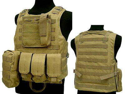 Tactical Assault Molle Combat Vest Magazine Pouch Airsoft Paintball Military Tan