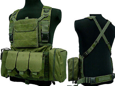 Molle Tactical Airsoft Combat Chest Rig Plate Carrier Assault Vest OD