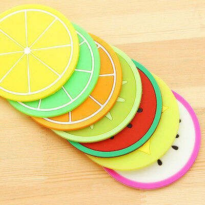 New 7pcs Silicone Fruit Coaster Silicone Tea Cup Drink Holder Mat Placemat Pad