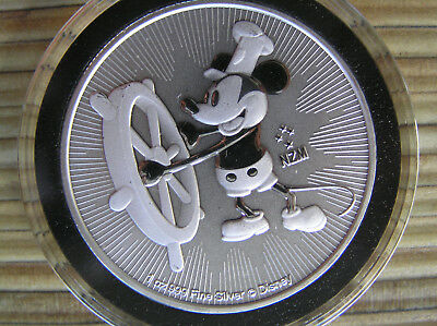 2017 MICKEY MOUSE STEAMBOAT WILLIE 1 Oz. .999 SILVER COIN $2 DOLLAR NIUE