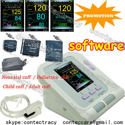 Digital Blood pressure monitor Contec08A+SPO2 Sensor with 4 cuff,software,FDA&CE