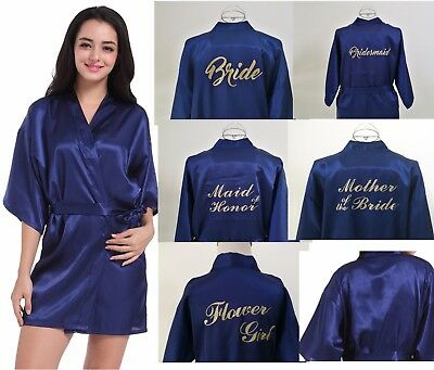 Satin personalized wedding dress, bride, maid, bride, mother and silk robe