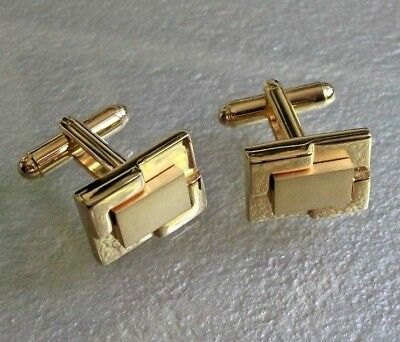 MENS CUFFLINKS CUFF LINKS VINTAGE RETRO CHUNKY GOLDTONE DESIGN 1960s 1970s MOD