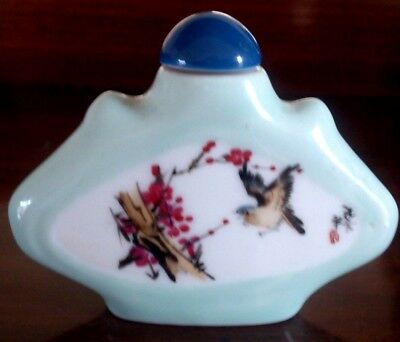 Qing/Republic Era Porcelain Snuff Bottle - Hand Painted - Signed