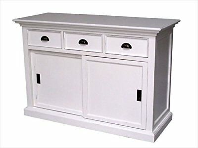 12017 HALIFAX White Mahogany Buffet, 3 Drawers, 2 Sliding Doors - B130