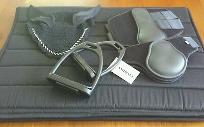 Tack Set - Black, saddle pad, Stirrups, 4 x Jump boots. Bonnet. Size Cob