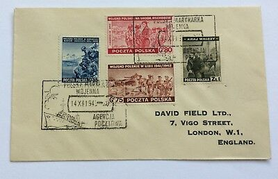 Vintage Ww2 1943 Poland Polish Forces In Exlie Cover Envelope Cover Stamps