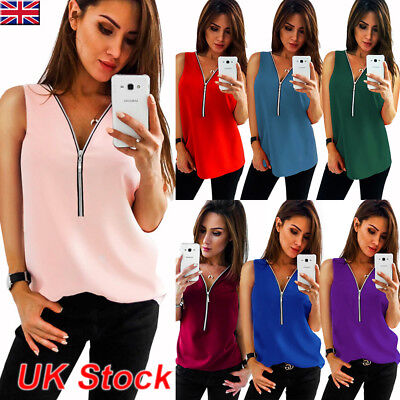 Womens Summer Chiffon Sleeveless Zip V-neck Vest Ladies Casual Cami Tops Blouse