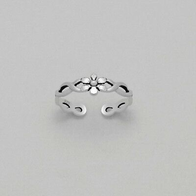 925 Sterling Silver Flower with Infinity Toe Ring in Box