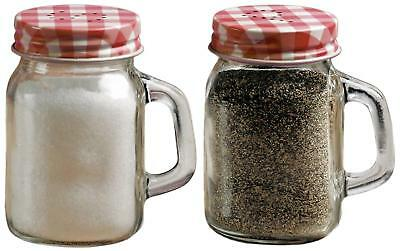 Clear Glass Embossed Salt Pepper Shaker With Glass Handles Lids Set of 2 New