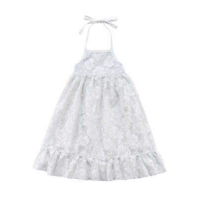 AU Baby Flower Girl Lace Backless Long Dress Kids Wedding Party Princess Dresses